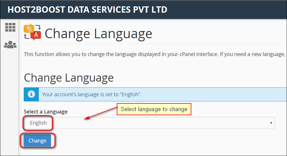 How to Change Language of your cPanel?