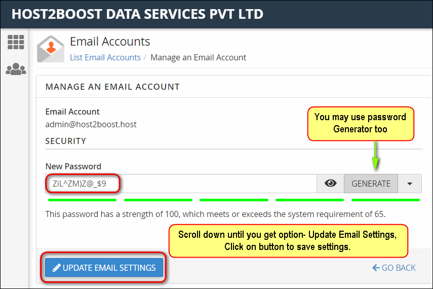 How to change the password of your email account?
